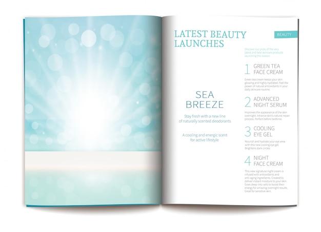 光沢のある化粧品雑誌のベクトルテンプレートです。
