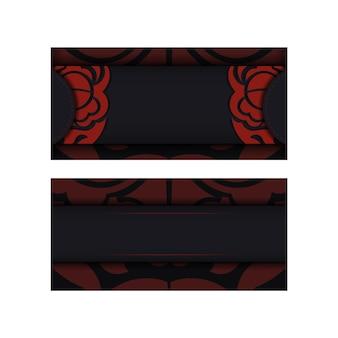 顔の中国のドラゴンの飾りと印刷デザインはがきblack色のベクトルテンプレート。