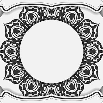 블랙 만다라 장식으로 인쇄 디자인 엽서 흰색 색상에 대한 벡터 템플릿. 텍스트와 패턴을 위한 장소로 초대장을 준비합니다.