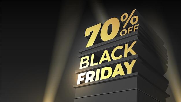 Векторный шаблон для продажи и скидки черная пятница с 3d буквами, зданием и прожектором на фоне ночного неба. 70 процентов на семьдесят. иллюстрация для флаера, визитки, открытки, промо, рекламы.