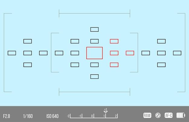 あなたのデザインのベクトルテンプレート。カメラのファインダー。カメラのフォーカシング画面。ファインダーカメラの記録。