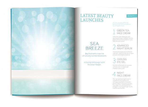 Vector template for glossy cosmetic magazine.