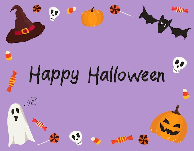 Vector template of a halloween greeting card with a pumpkin ghosts happy halloween inscriptions