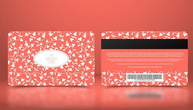 Vector template of membership or loyalty coral pink vip card