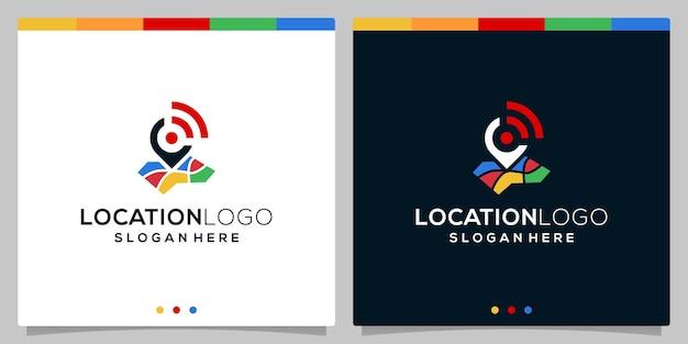 フルカラーの場所のロゴアイコンと信号のロゴアイコンのベクトルテンプレート。プレミアムベクトル