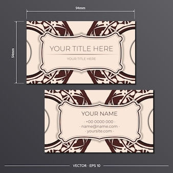 Vector template for print design of business cards in beige color with luxurious patterns. preparing a business card with a place for your text and an abstract ornament.