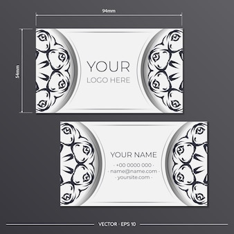 Vector template for print design of business cards of white color with vintage ornament. business card preparation with luxurious patterns. Premium Vector