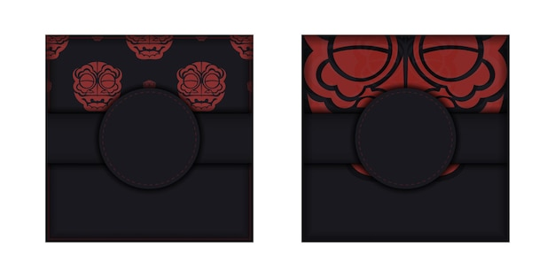 Vector template for print design postcard black colors with chinese dragon patterns.