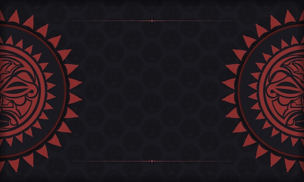 Vector template for print design postcards in black color with mask of the gods. preparing an invitation with a place for your text and a face in the polizenian style.