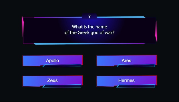 Vector template question and answers neon style for quiz game exam tv show school examination test