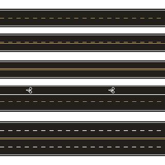 Векторный набор шаблонов прямых асфальтированных дорог. набор бесшовных дорожных элементов. горизонтальные прямые бесшовные дороги. современные асфальтированные трассы с многоярусным покрытием.