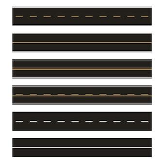 Vector template set of straight asphalt roads. seamless road element set. horizontal straight seamless roads. modern asphalt repetitive highways.