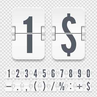 Vector template for time counter or web page timer. flip numbers and symbols on light mechanical scoreboard isolated on transparent background.