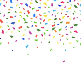 Modello di vettore di coriandoli colorati vibranti nei colori dell'arcobaleno su bianco con copyspace per il testo della cartolina d'auguri o invito