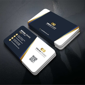 Vector template visit card with gold details
