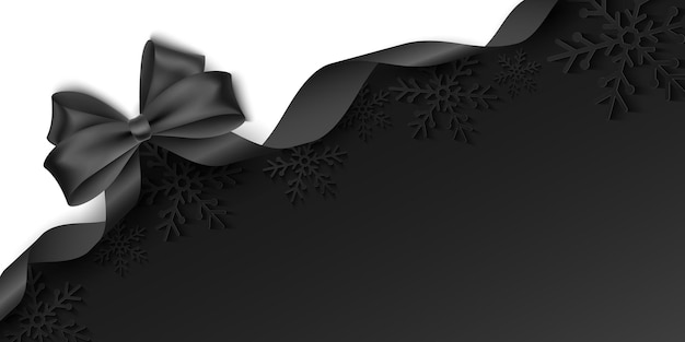 Vector template with black bow and ribbon for advertising your promotion, sale or festive event. seasonal background with christmas paper snowflakes. eps 10.