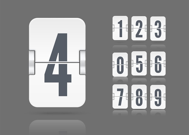 Vector template with flip scoreboard numbers and reflections floating on different height for white countdown timer or calendar isolated on dark background.
