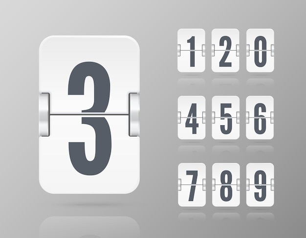 Vector template with floating flip scoreboard numbers and reflections for white countdown timer or calendar isolated on light background.
