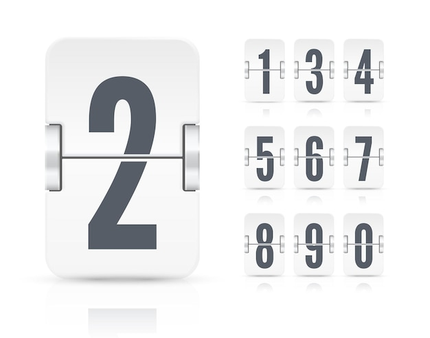 Vector template with light flip scoreboard numbers and reflections for white countdown timer or calendar isolated on white background.