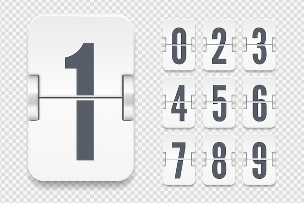 Vector template with light flip scoreboard numbers with shadows for white countdown timer or calendar isolated on transparent background.