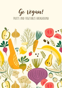 Vector template with vegetables and fruit