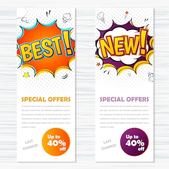 Vector templates banners in comic style, pop art. best and new, special offers