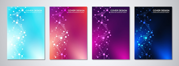 Vector templates for cover or brochure, with molecules background and neural network.