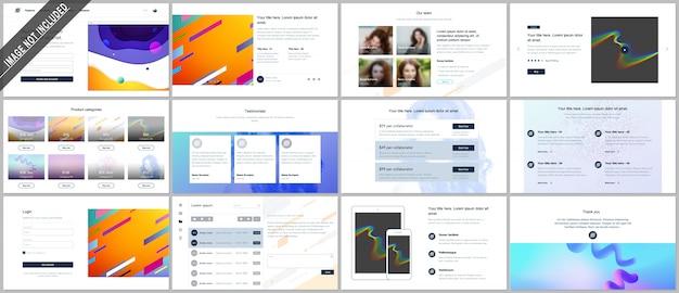 ウェブサイトのデザイン、最小限のプレゼンテーション、幾何学的なカラフルなパターン、グラデーション、流体形状のポートフォリオのベクトルテンプレート。 ui、ux、gui。ヘッダー、ダッシュボード、機能ページ、ブログなどの設計