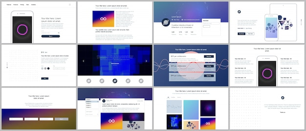 Vector templates for website design, minimal presentations, portfolio with abstract colorful infographics, minimalistic futuristic backgrounds. ui, ux, gui.