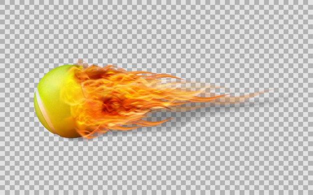 Vector tennis ball in fire on transparent background.