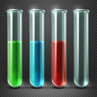 Vector test tubes filled with liquids of different colors and blood. glass containers for research i