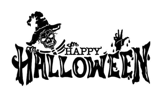 Векторный текстовый баннер счастливого хэллоуина с зомби. изолированный фон.