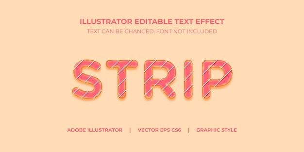 ストリップチョコとベクトルテキスト効果イラストレーターグラフィックスタイルドーナツ