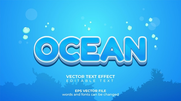 Vector text effect shiny underwater ocean and text effect
