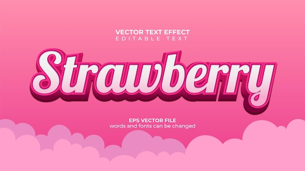 Вектор текстовый эффект сладкий клубничный текст