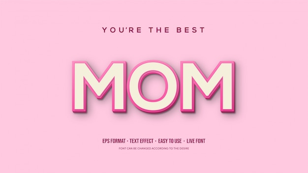 Vector text effect with mom writing overlapping.