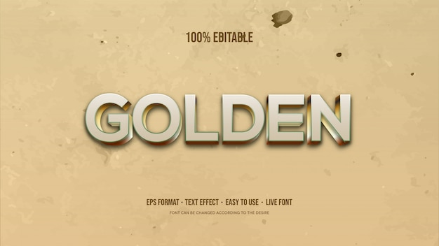 Vector text effect with thick gold writing on the background of a broken wall.
