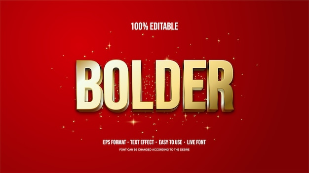 Vector text effect with thick gold writing on a red background.