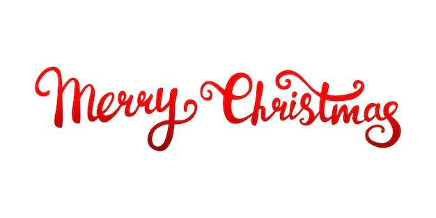 手で書かれたクリスマスの挨拶のベクトルテキスト、白い背景の上の赤いグラデーション。レタリング。