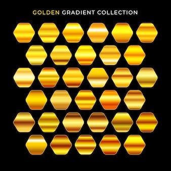 ゴールドグラデーションのベクトルテクスチャセット光沢のあるメタリックコレクション