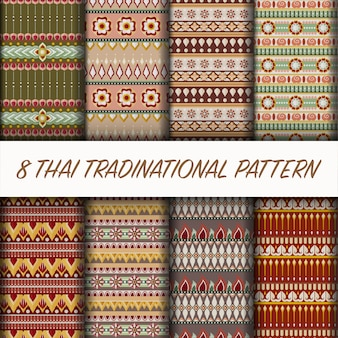 Vector thai style patter set