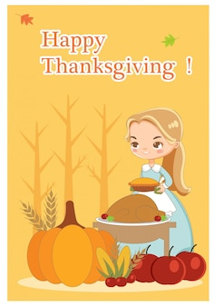 Vector of thanksgiving day card