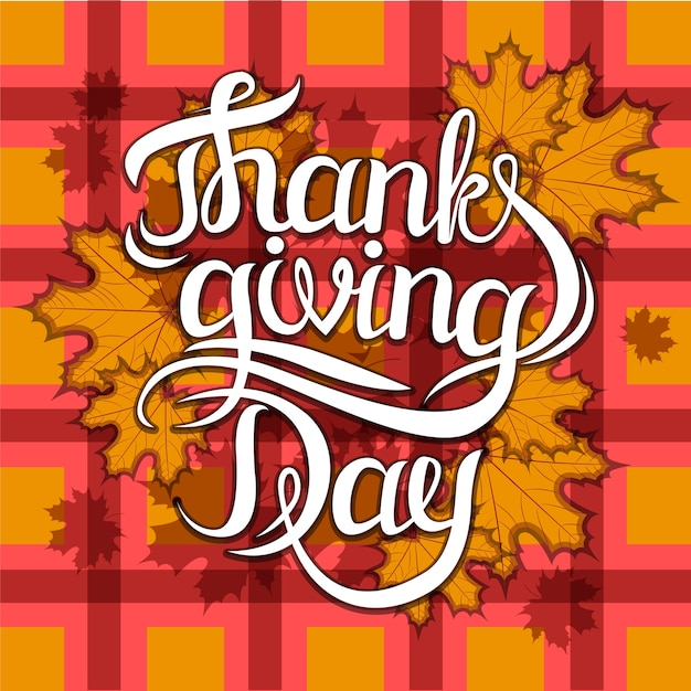 Vector thanksgiving day greeting lettering phrase