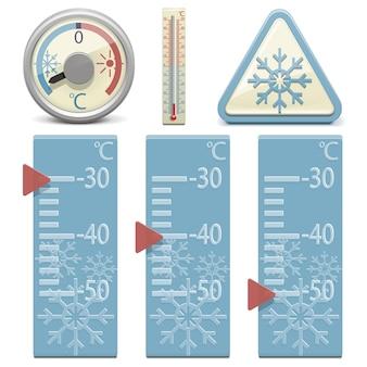 벡터 온도계와 눈 기호
