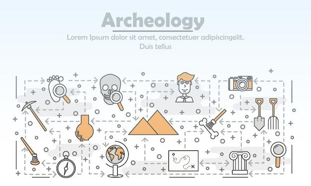 Vector thin line art archaeology illustration