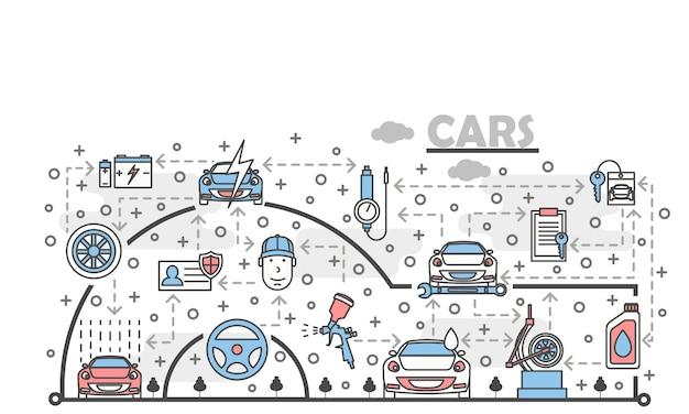 Vector thin line art car service illustration