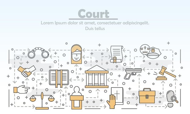 Vector thin line art court illustration