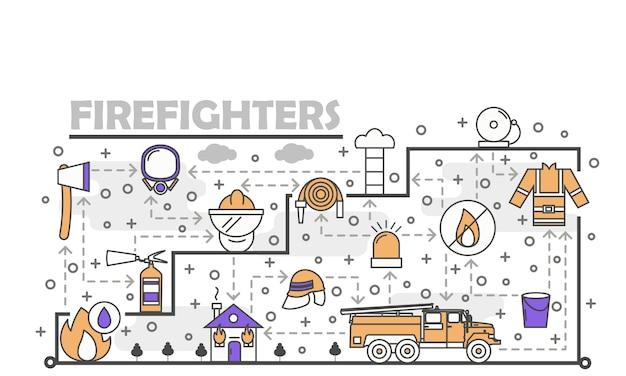 Vector thin line art firefighters illustration