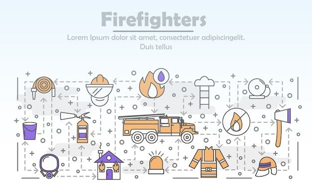 Vector thin line art firefighters illustration