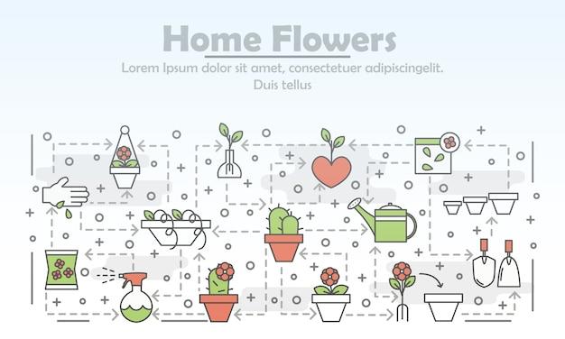 Vector thin line art home flowers illustration